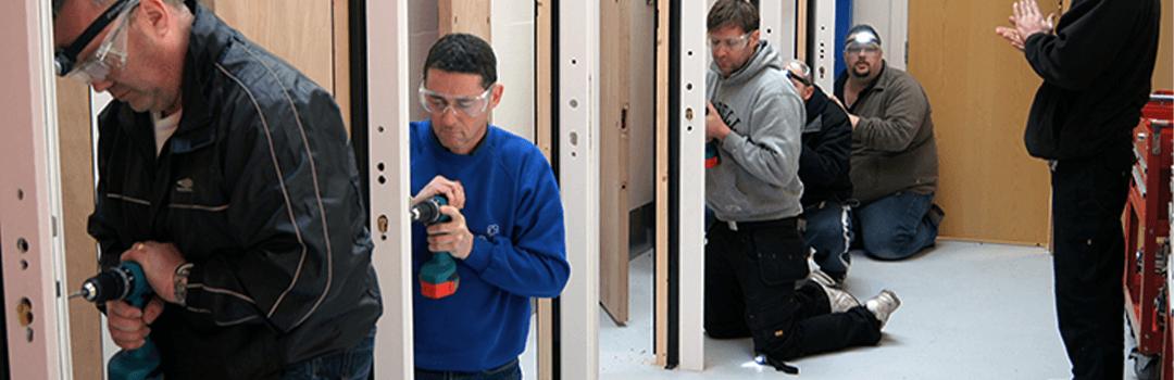 locksmiths working on upvc doors
