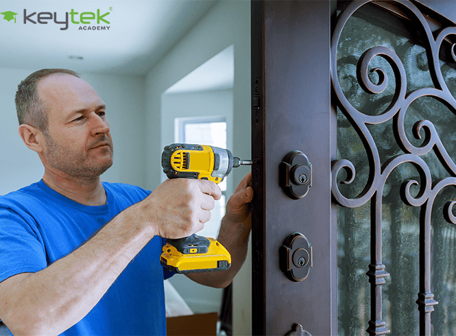 Locksmith Installing Lock on Door