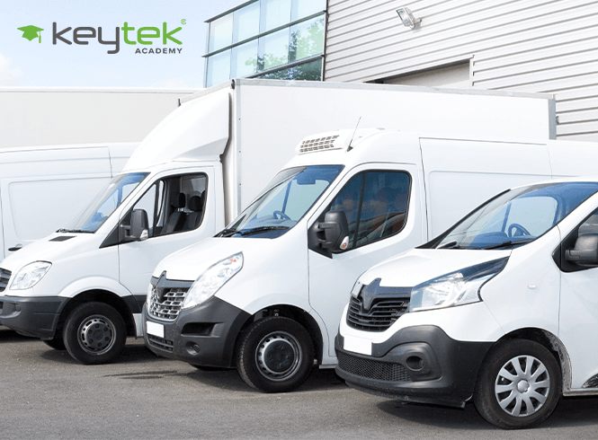 white locksmith vans lined up